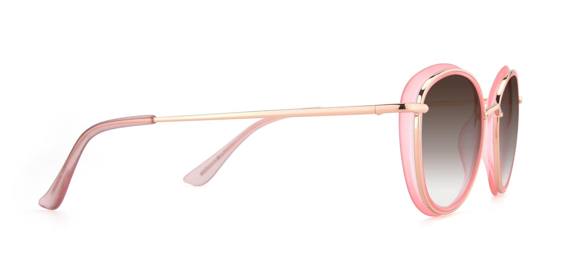 Side of Cosmopolitan in Pink-Gold with Brown Gradient Lenses