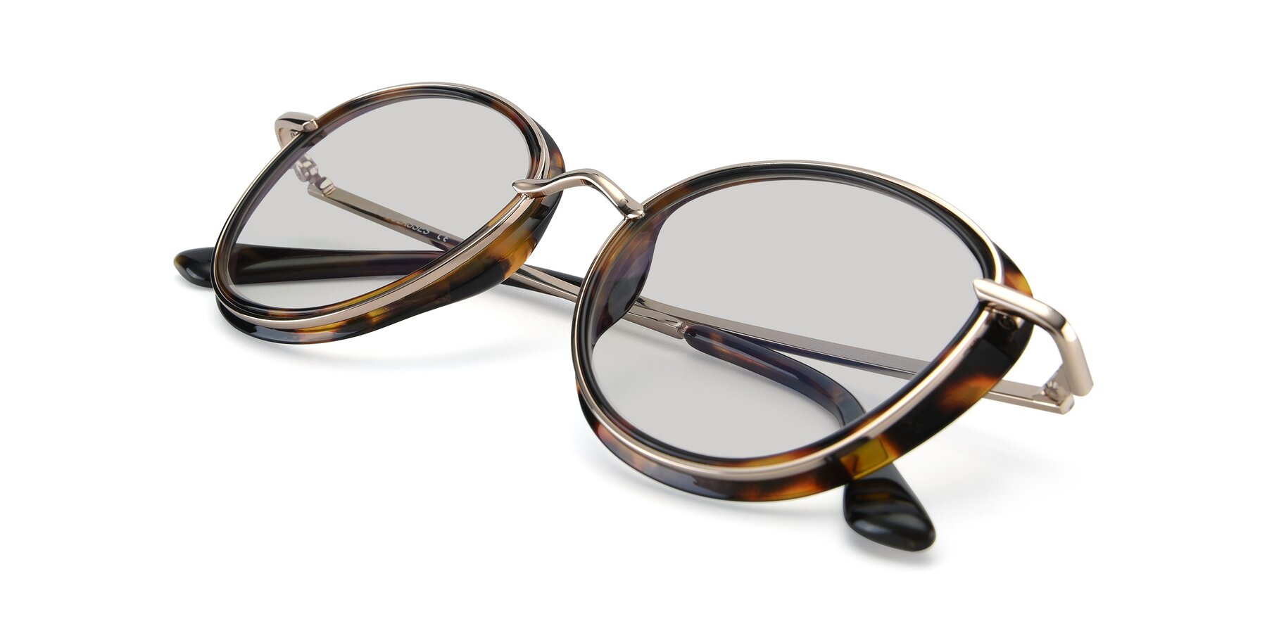 View of Cosmopolitan in Tortoise-Silver with Light Gray Tinted Lenses
