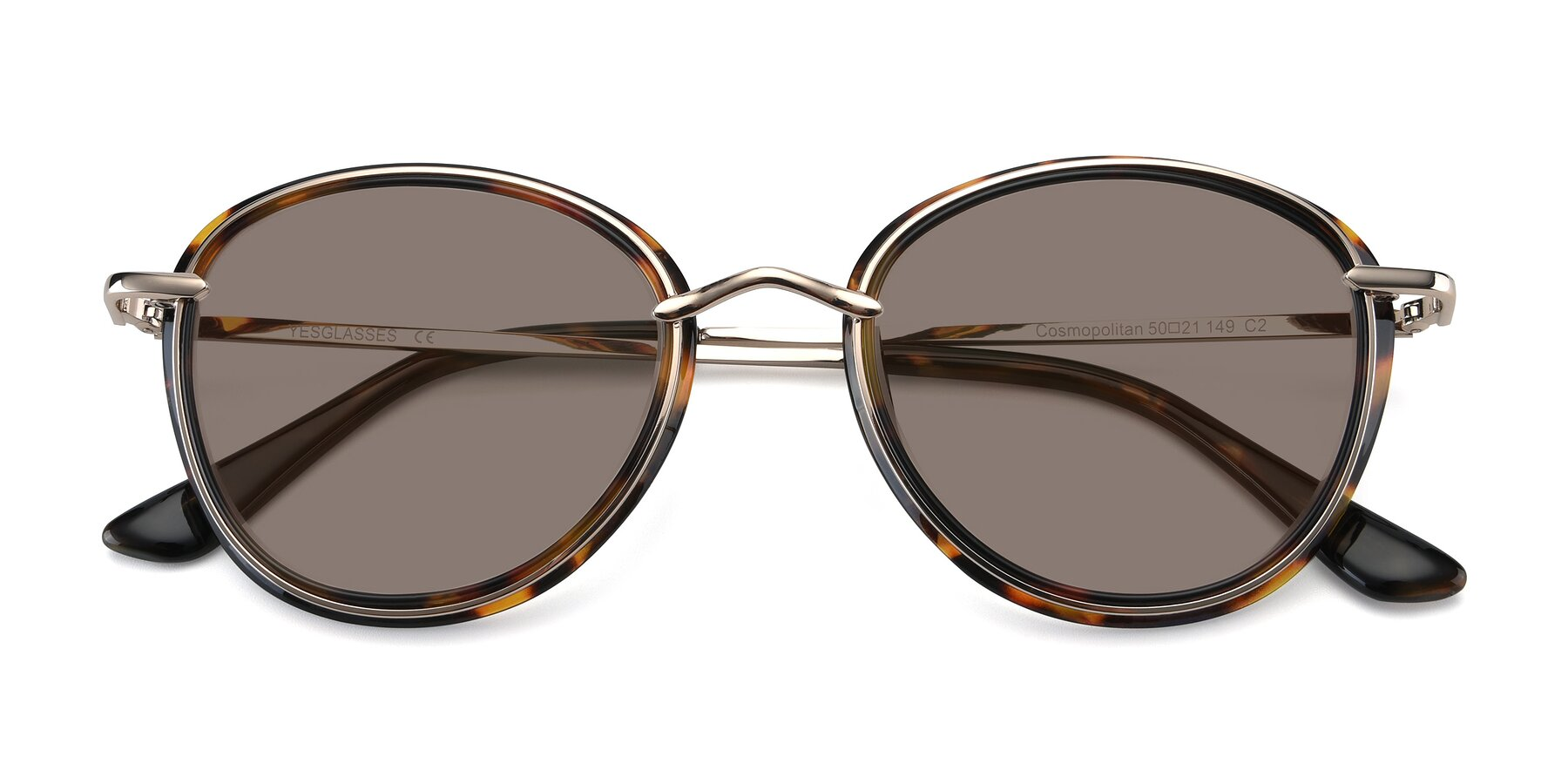 Folded Front of Cosmopolitan in Tortoise-Silver with Medium Brown Tinted Lenses