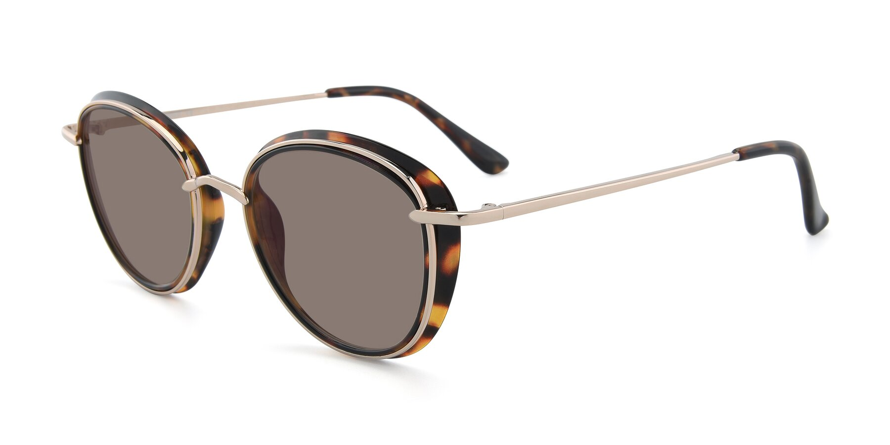 Angle of Cosmopolitan in Tortoise-Silver with Medium Brown Tinted Lenses