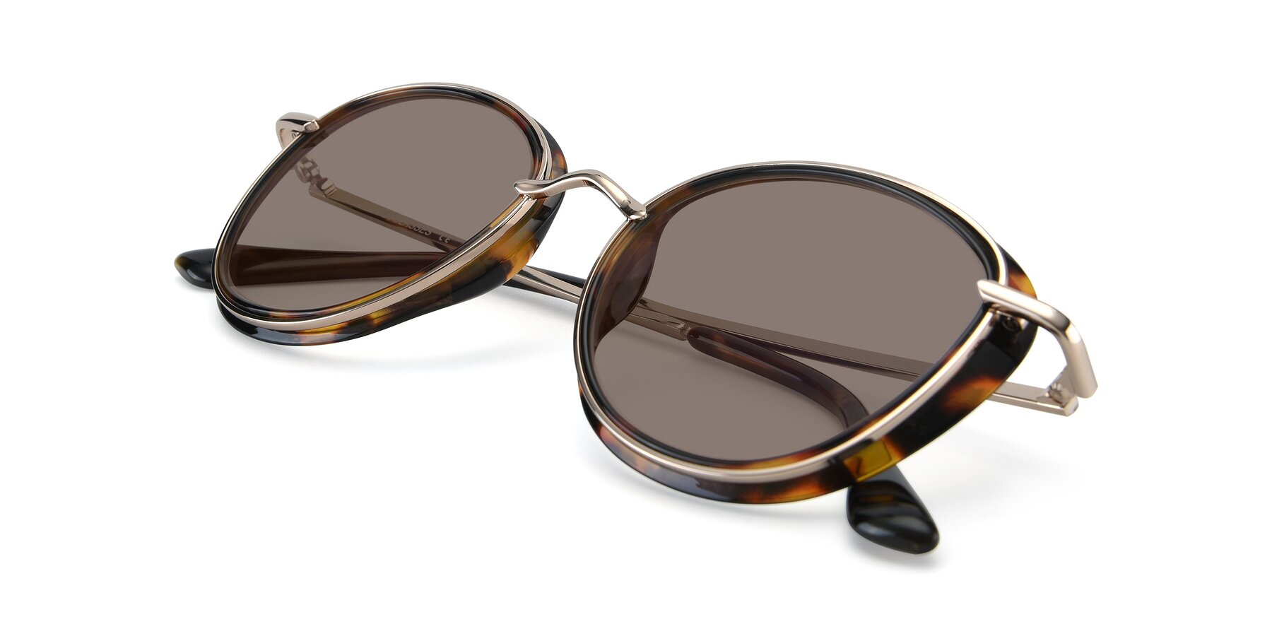 View of Cosmopolitan in Tortoise-Silver with Medium Brown Tinted Lenses