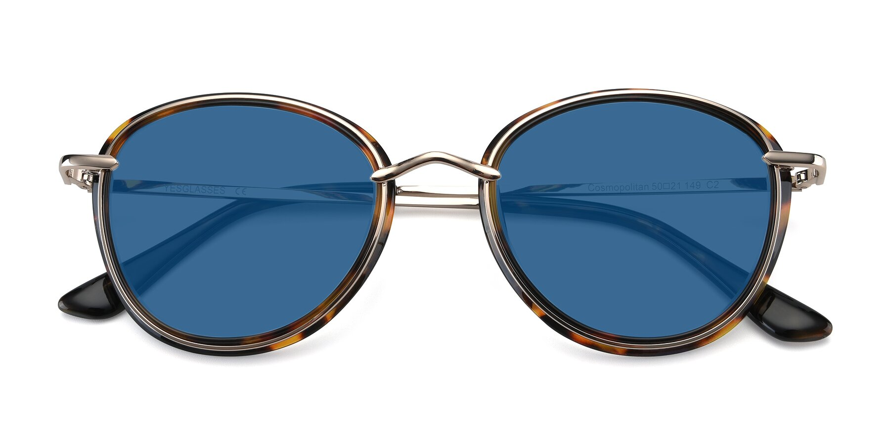Folded Front of Cosmopolitan in Tortoise-Silver with Blue Tinted Lenses