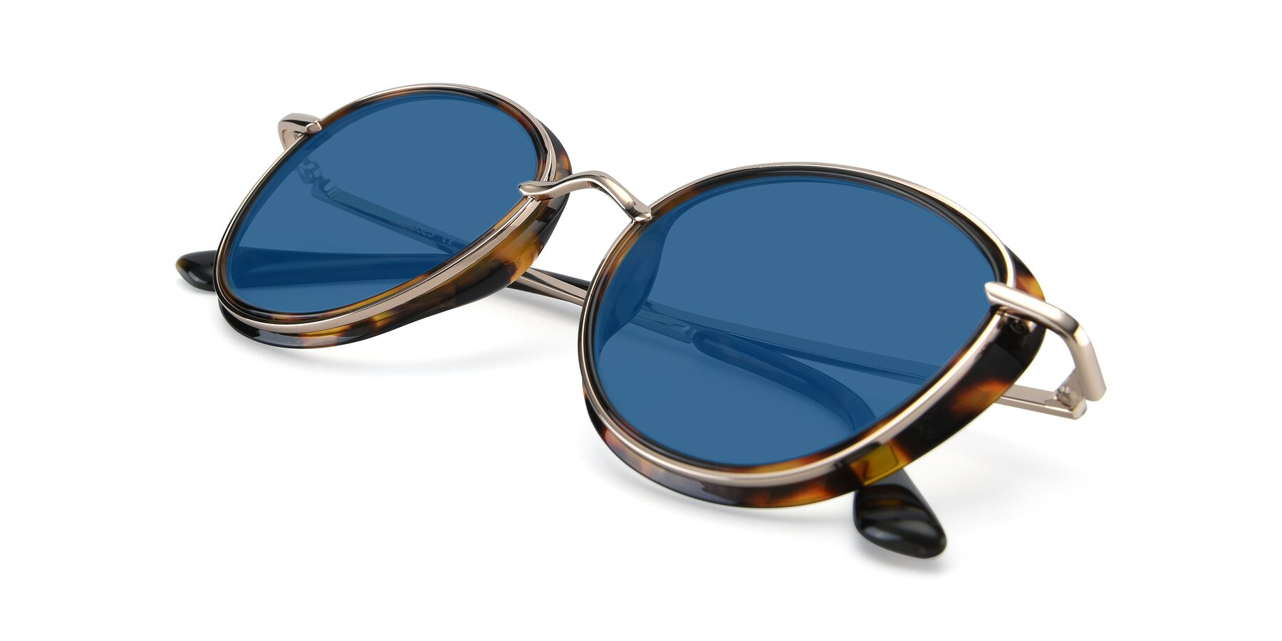 View of Cosmopolitan in Tortoise-Silver with Blue Tinted Lenses