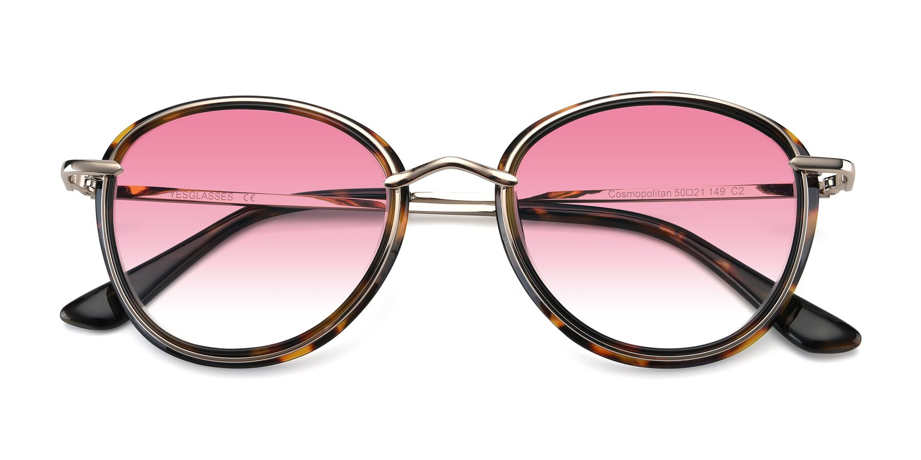 Folded Front of Cosmopolitan in Tortoise-Silver with Pink Gradient Lenses