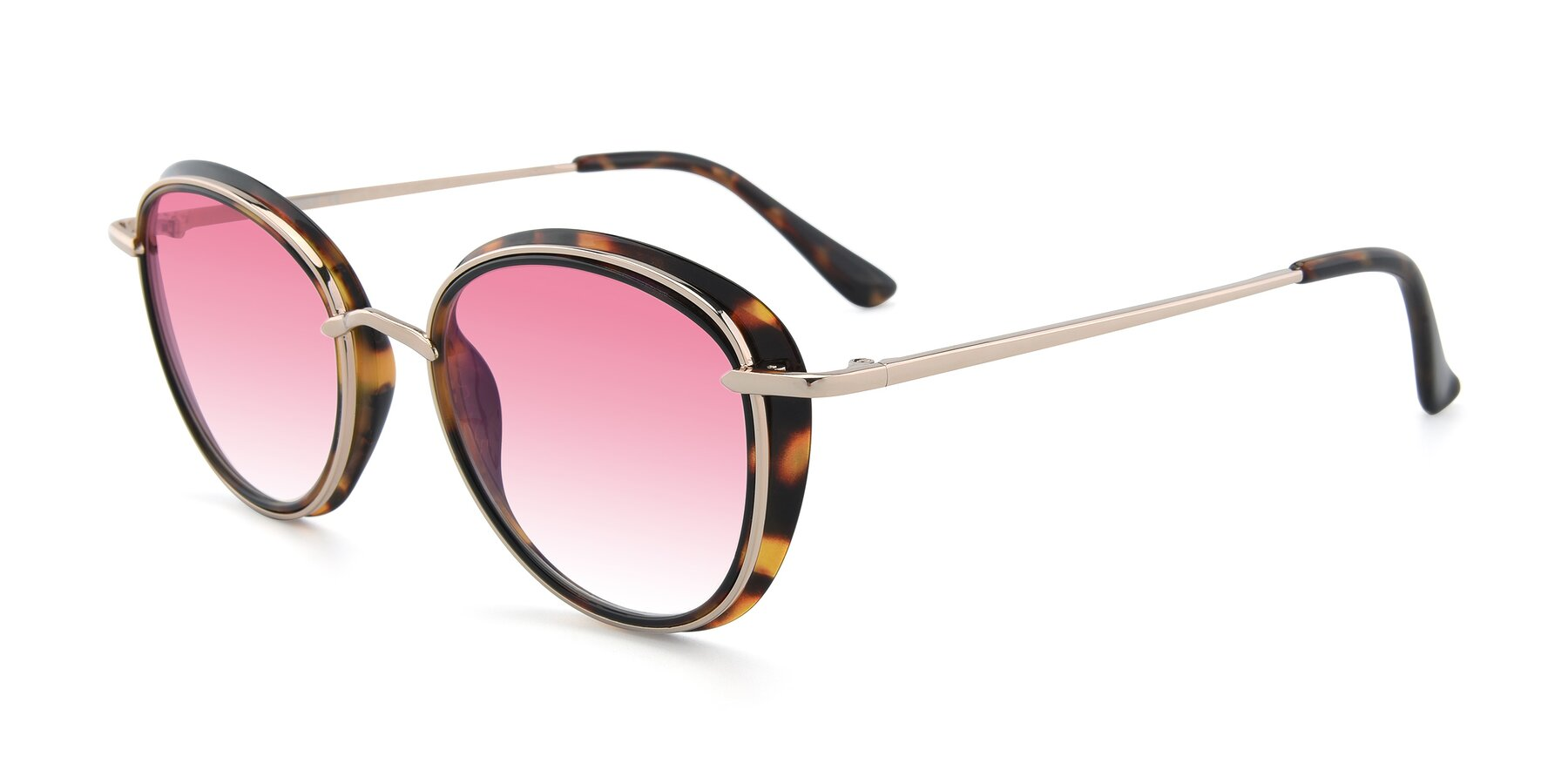 Angle of Cosmopolitan in Tortoise-Silver with Pink Gradient Lenses