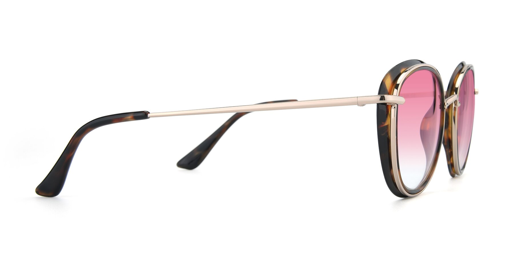 Side of Cosmopolitan in Tortoise-Silver with Pink Gradient Lenses