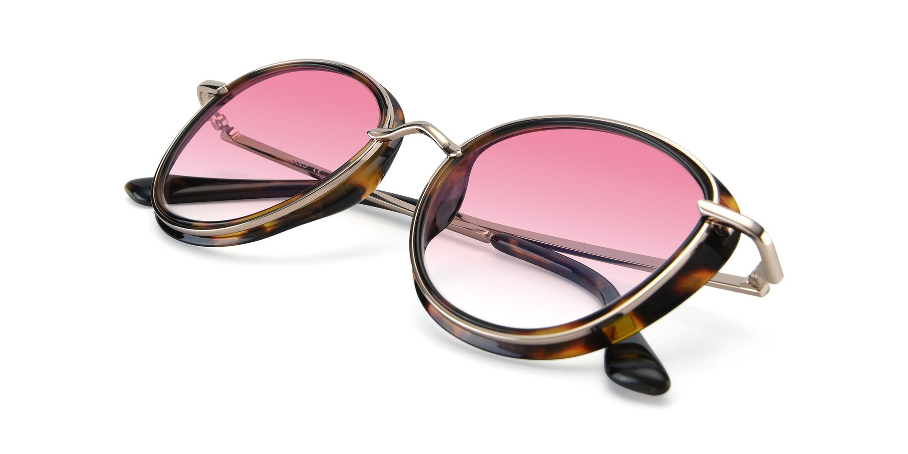 View of Cosmopolitan in Tortoise-Silver with Pink Gradient Lenses
