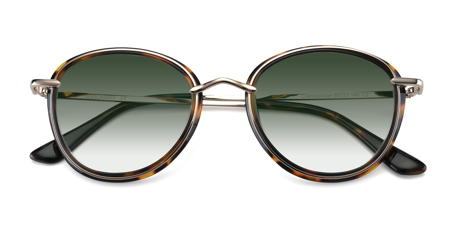 Folded Front of Cosmopolitan in Tortoise-Silver with Green Gradient Lenses