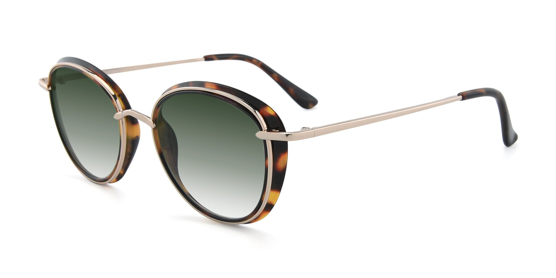 Angle of Cosmopolitan in Tortoise-Silver with Green Gradient Lenses