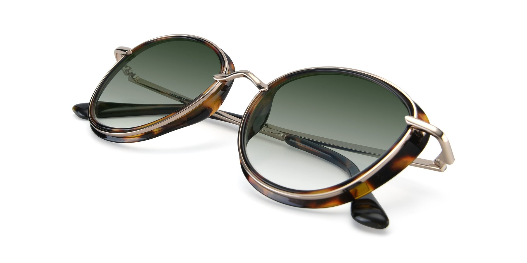 View of Cosmopolitan in Tortoise-Silver with Green Gradient Lenses