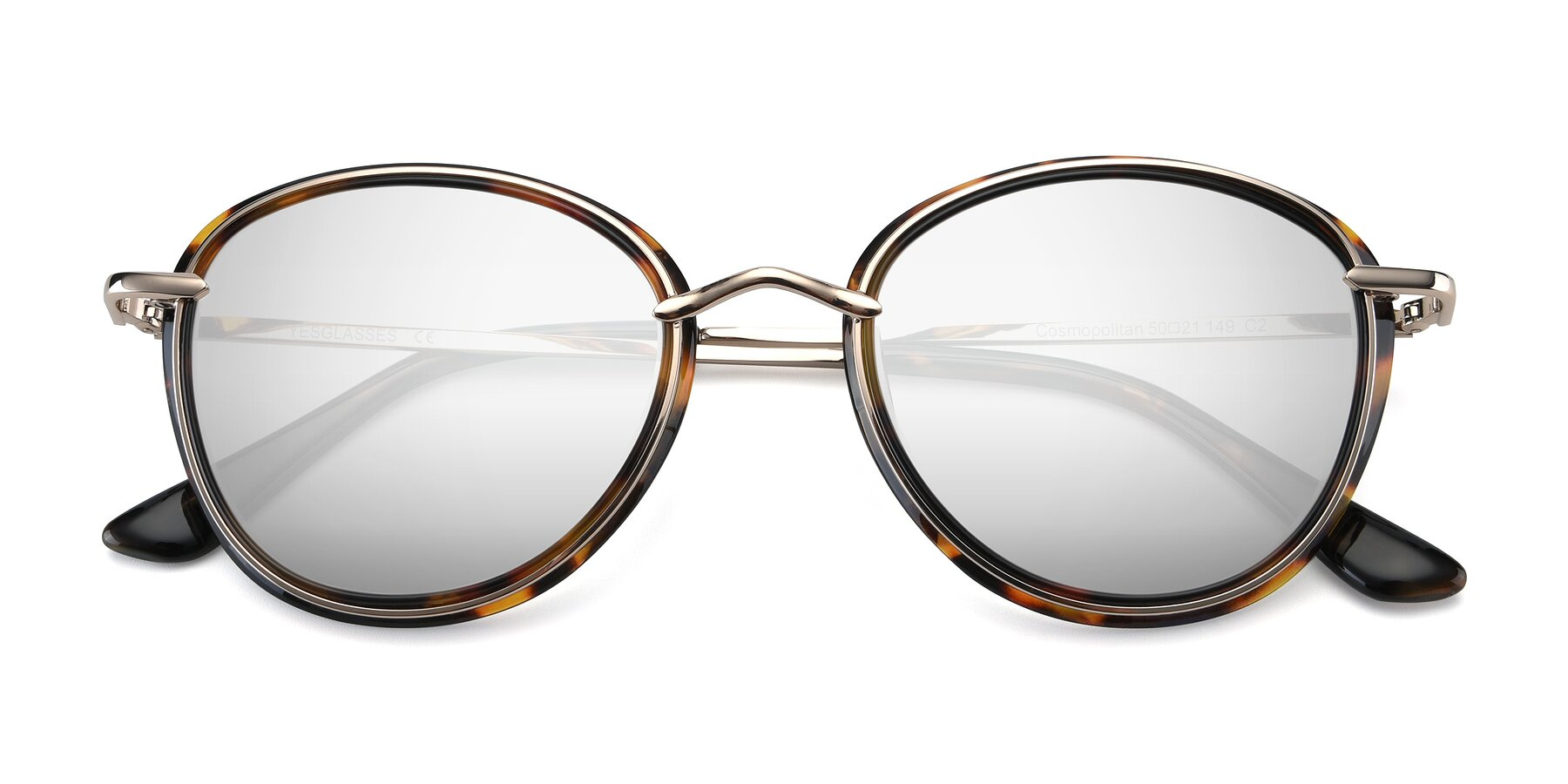 Folded Front of Cosmopolitan in Tortoise-Silver with Silver Mirrored Lenses
