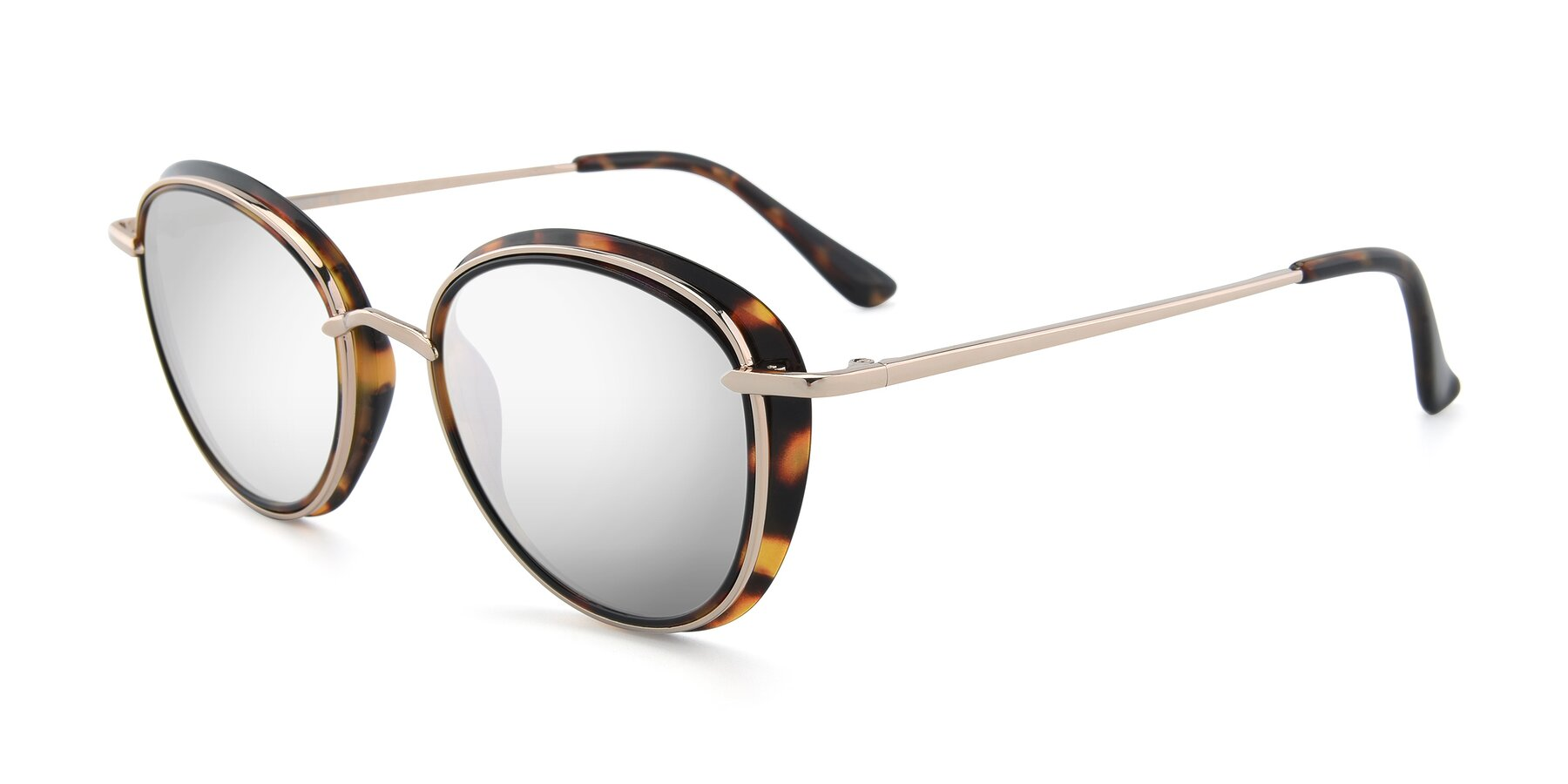 Angle of Cosmopolitan in Tortoise-Silver with Silver Mirrored Lenses