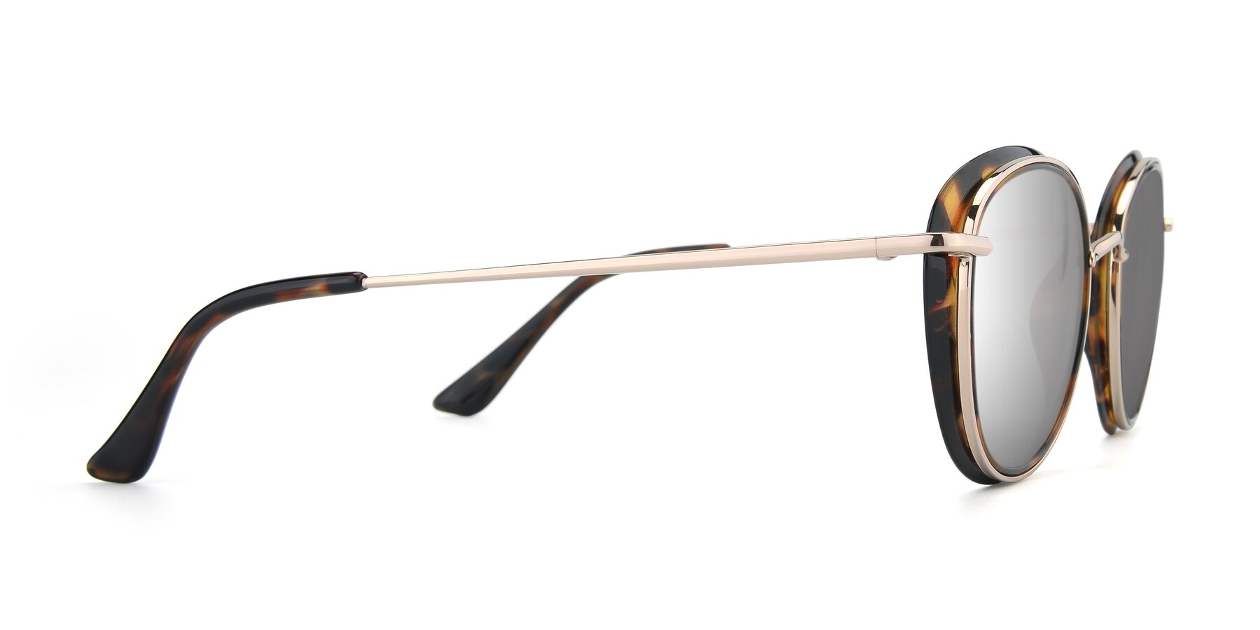 Side of Cosmopolitan in Tortoise-Silver with Silver Mirrored Lenses