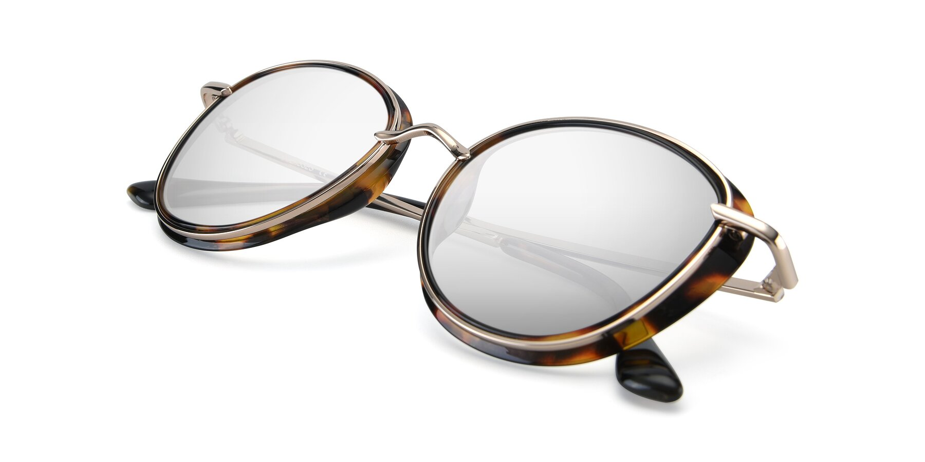 View of Cosmopolitan in Tortoise-Silver with Silver Mirrored Lenses