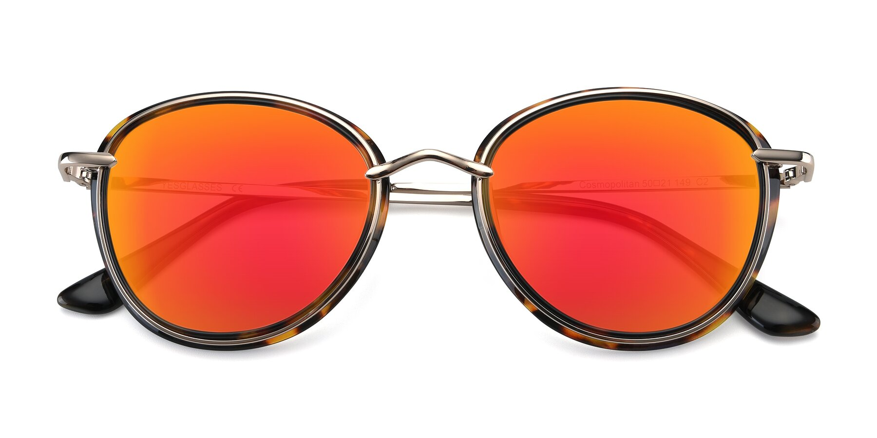 Folded Front of Cosmopolitan in Tortoise-Silver with Red Gold Mirrored Lenses