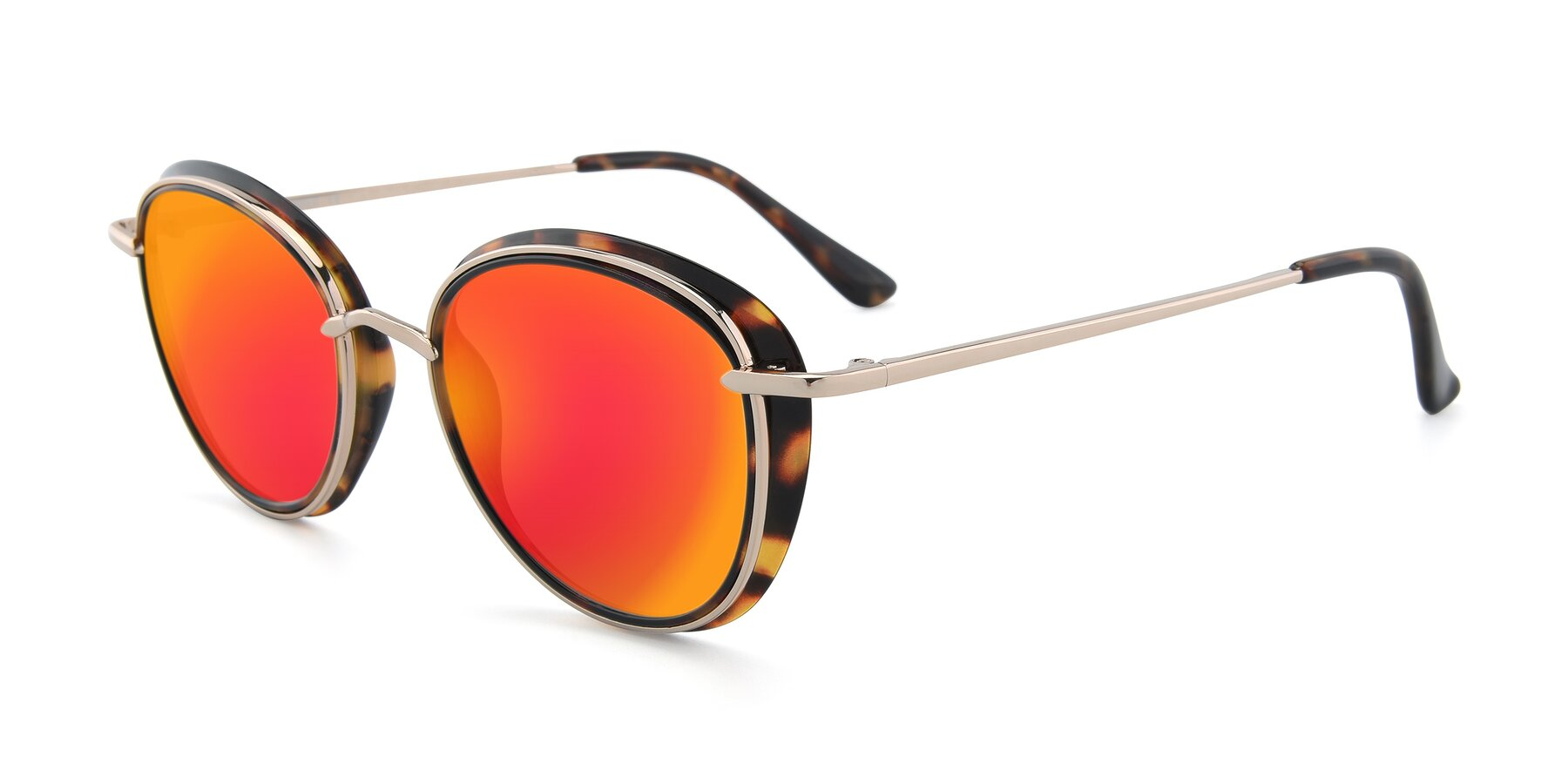 Angle of Cosmopolitan in Tortoise-Silver with Red Gold Mirrored Lenses