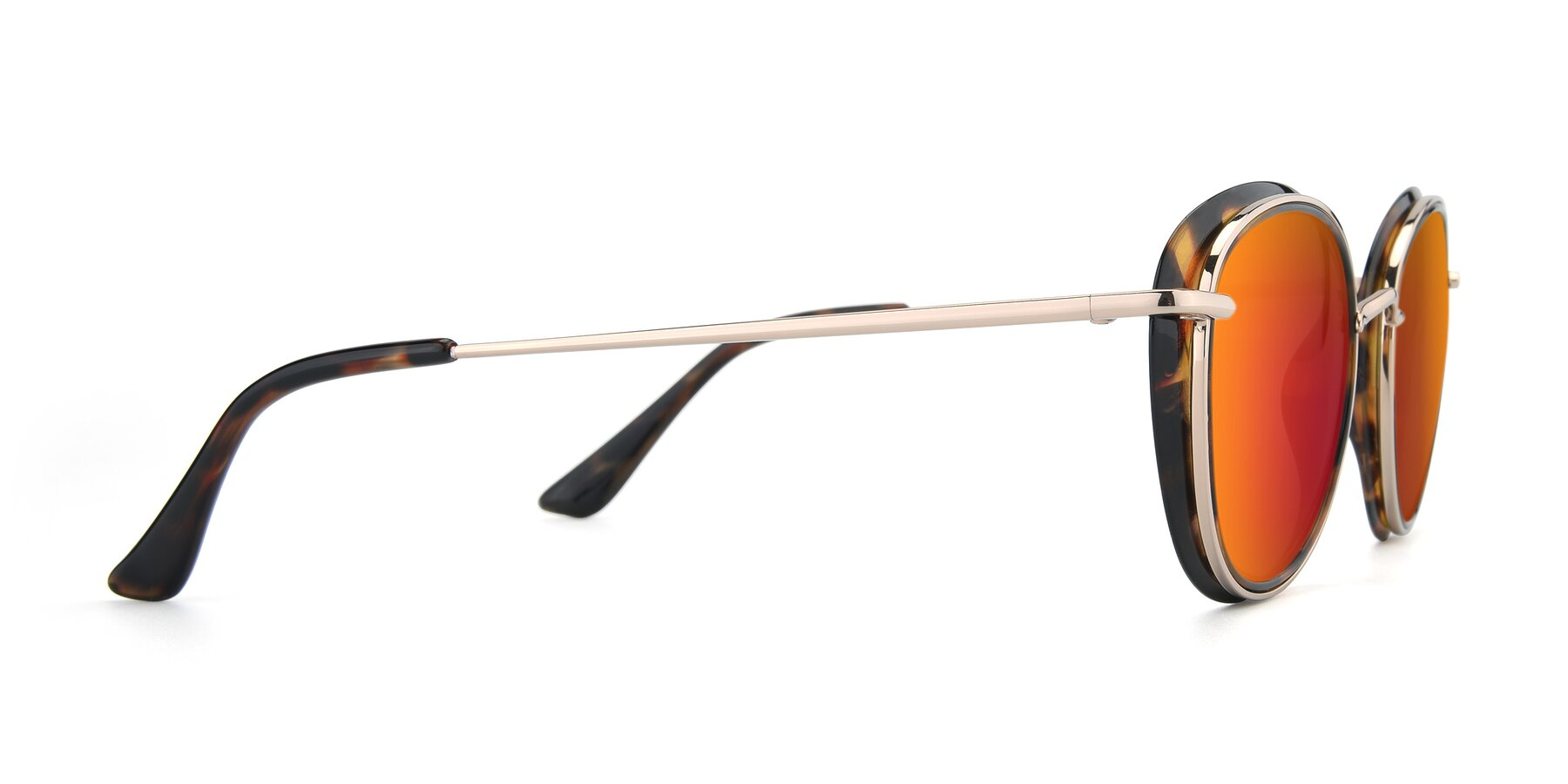 Side of Cosmopolitan in Tortoise-Silver with Red Gold Mirrored Lenses