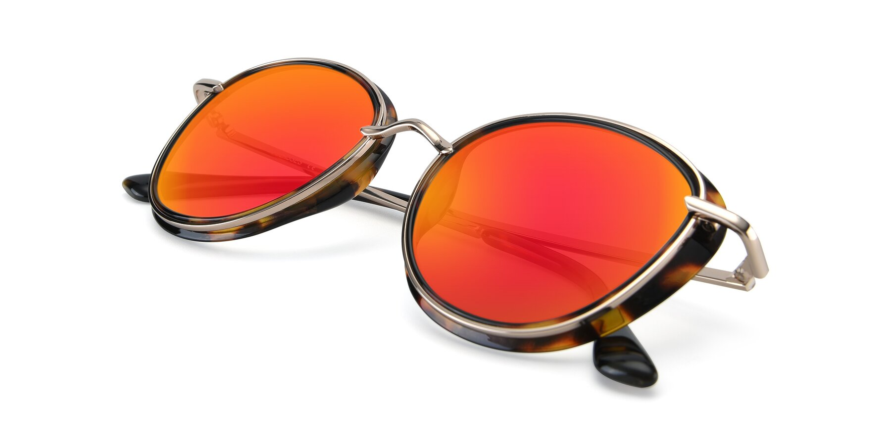 View of Cosmopolitan in Tortoise-Silver with Red Gold Mirrored Lenses