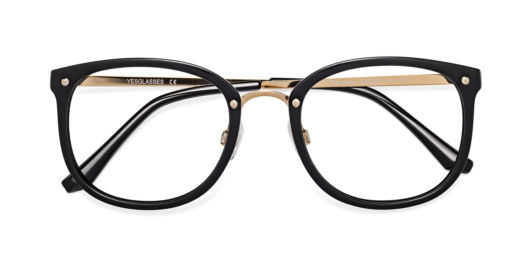 Folded Front of Timeless in Black-Gold with Clear Eyeglass Lenses