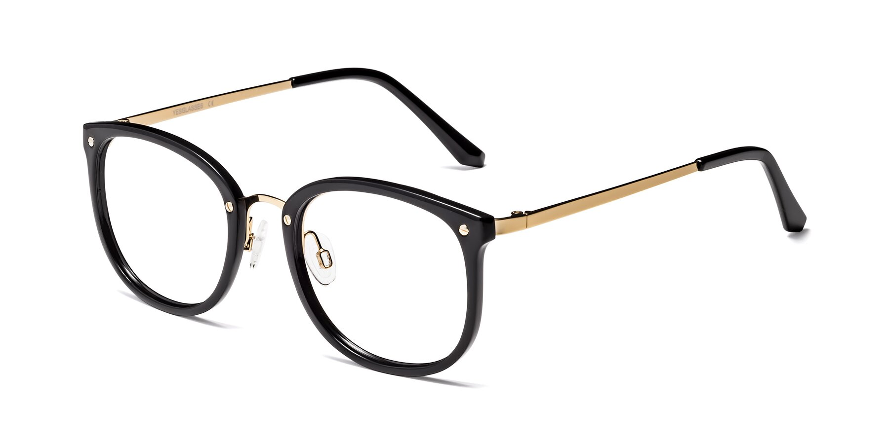 Angle of Timeless in Black-Gold with Clear Eyeglass Lenses