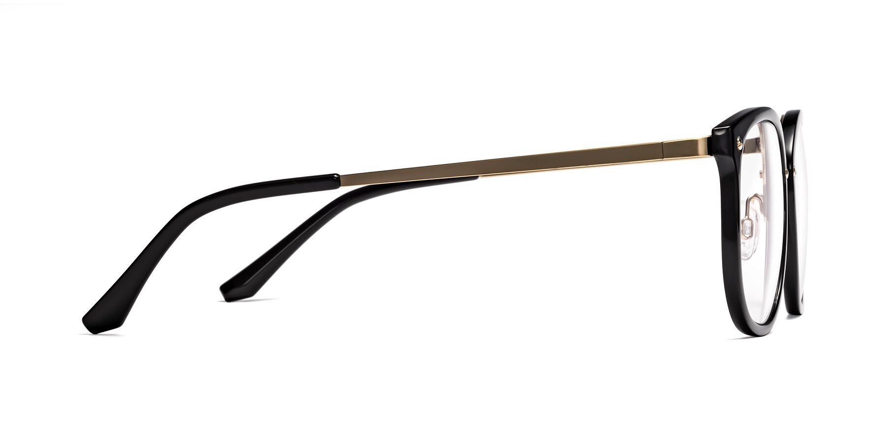 Side of Timeless in Black-Gold with Clear Eyeglass Lenses