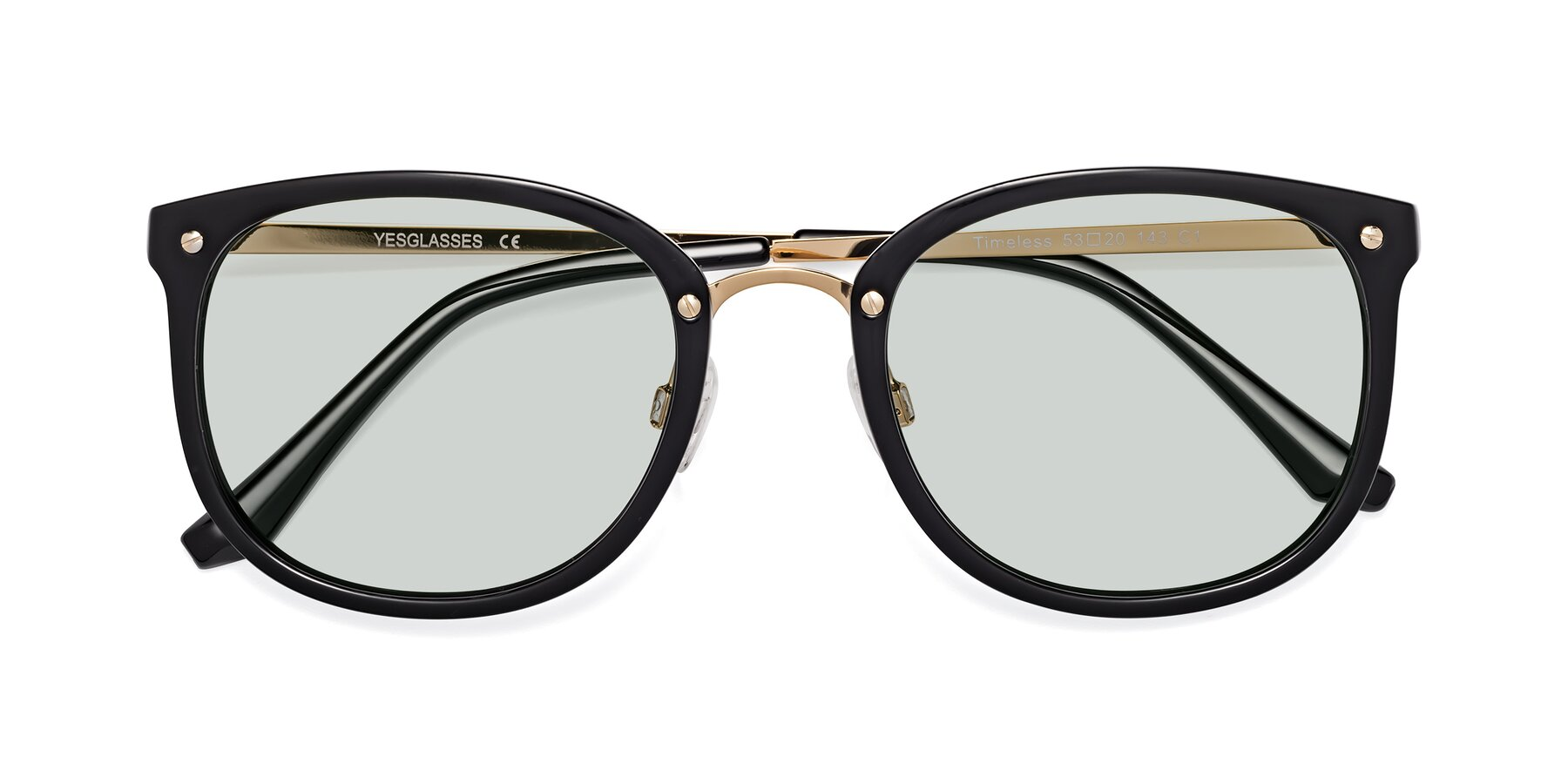 Folded Front of Timeless in Black-Gold with Light Green Tinted Lenses