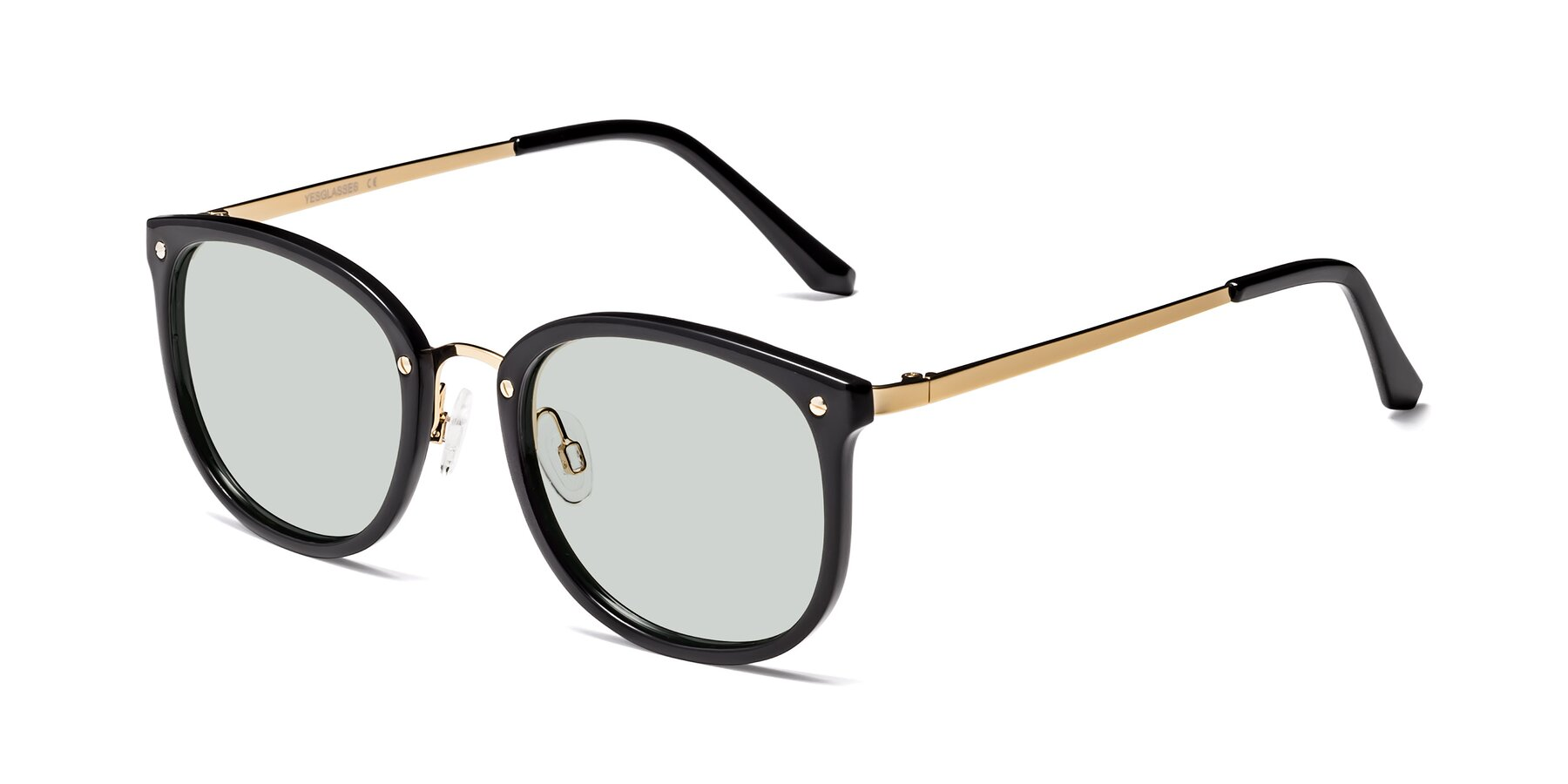 Angle of Timeless in Black-Gold with Light Green Tinted Lenses
