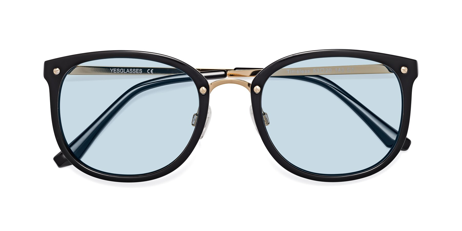 Folded Front of Timeless in Black-Gold with Light Blue Tinted Lenses