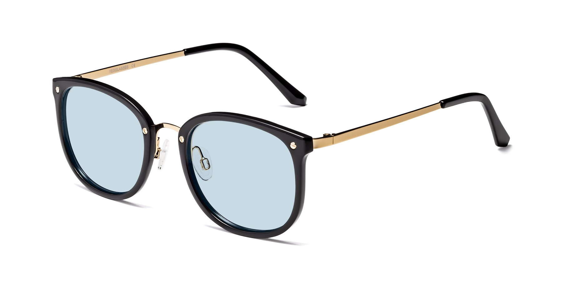 Angle of Timeless in Black-Gold with Light Blue Tinted Lenses
