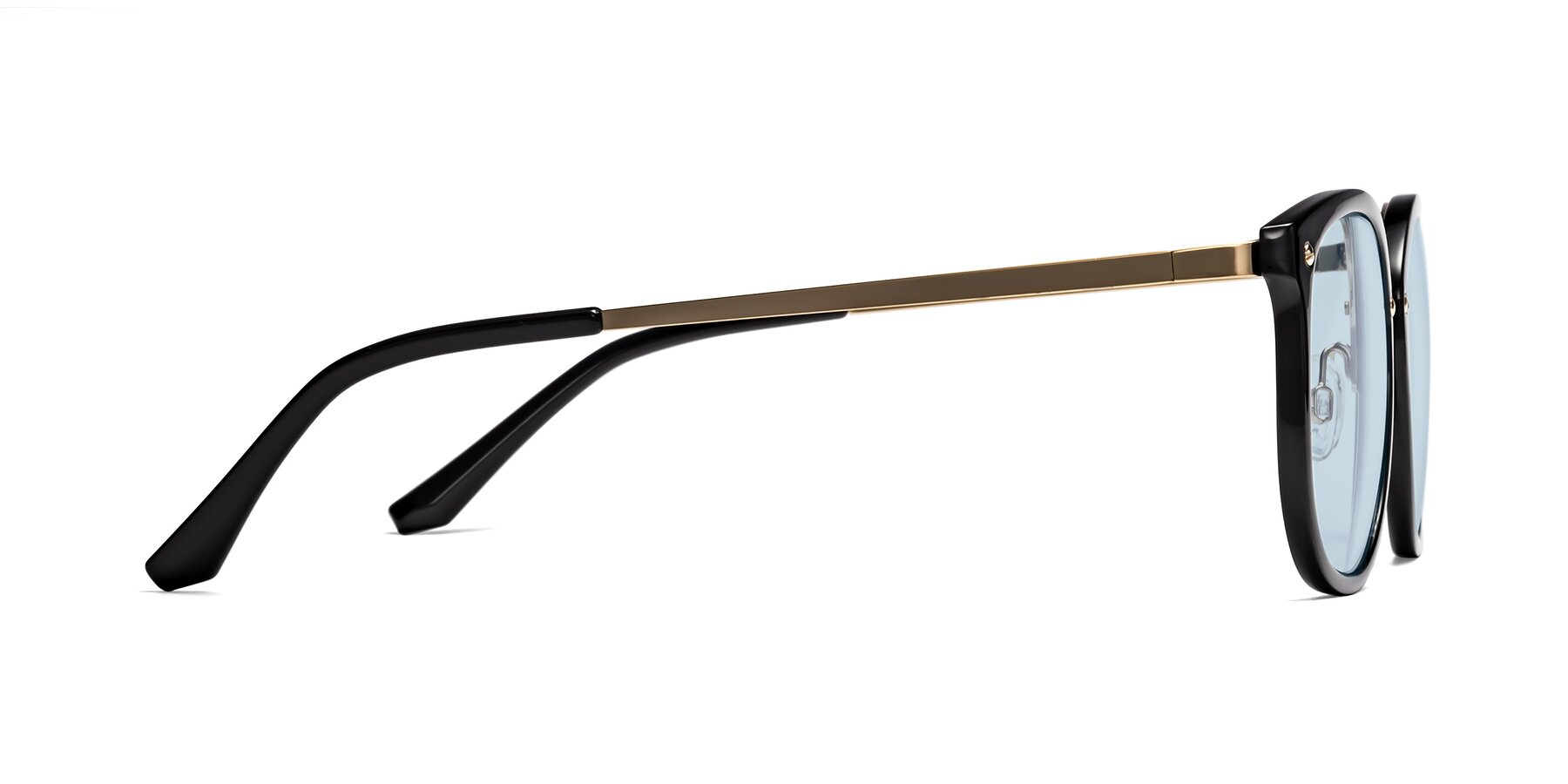 Side of Timeless in Black-Gold with Light Blue Tinted Lenses