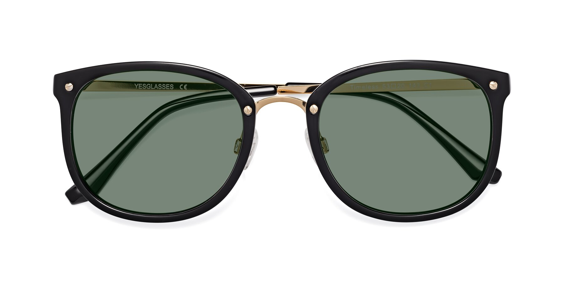 Folded Front of Timeless in Black-Gold with Medium Green Tinted Lenses