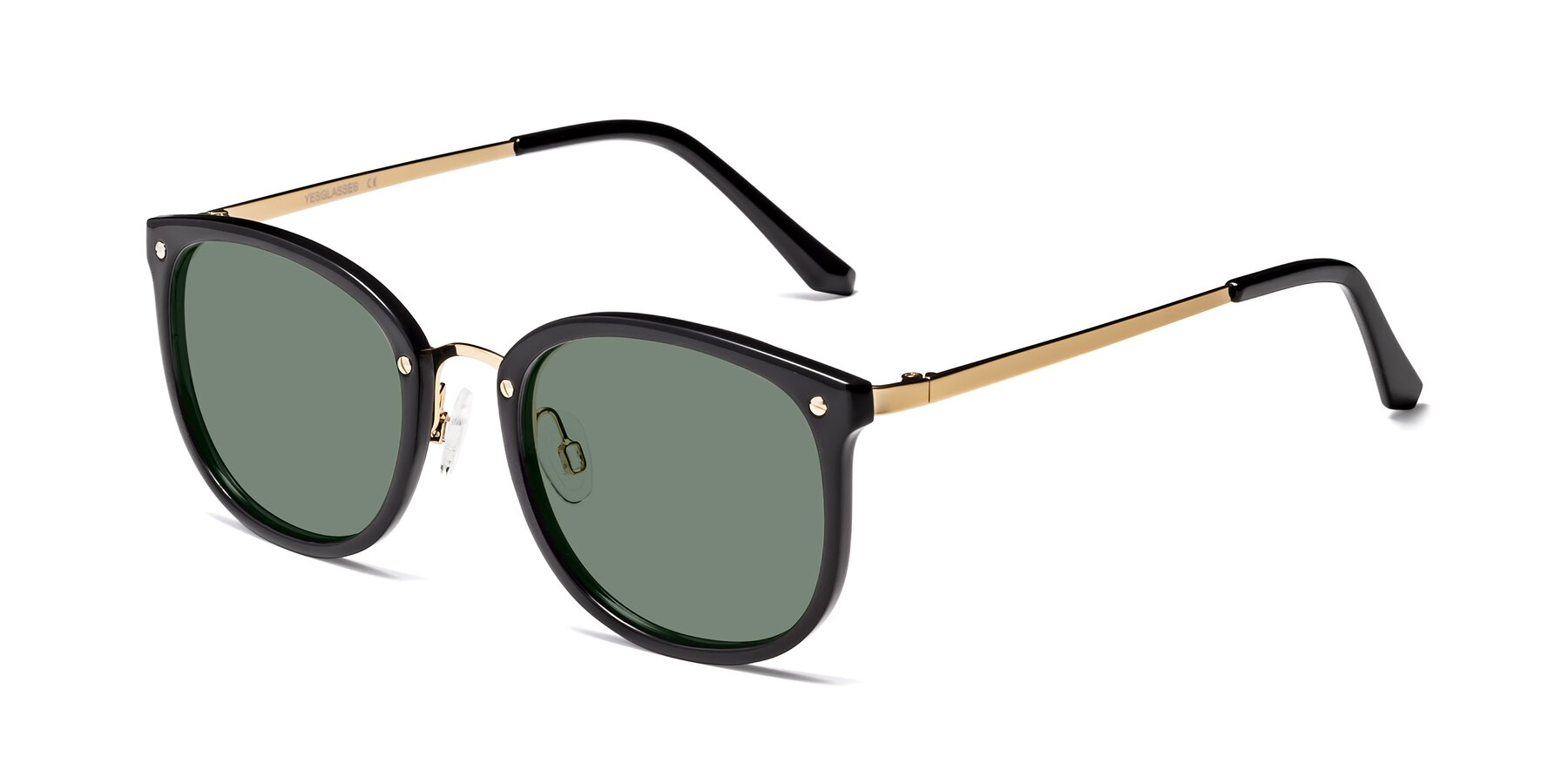 Angle of Timeless in Black-Gold with Medium Green Tinted Lenses