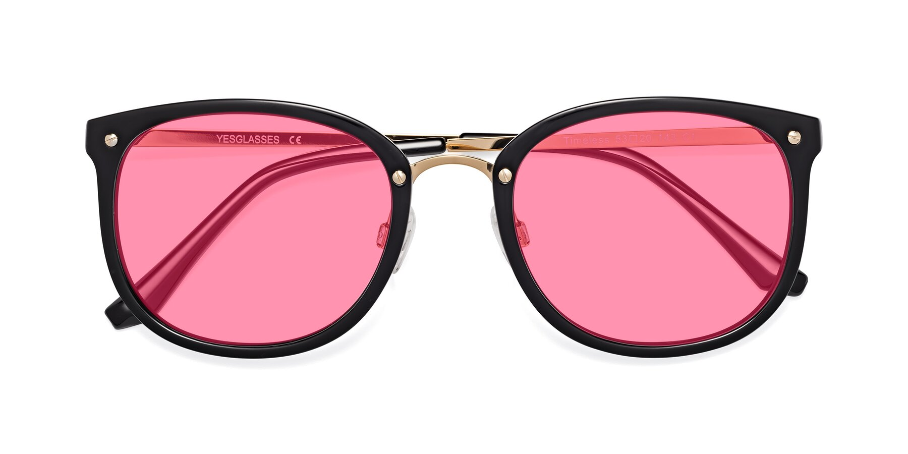 Folded Front of Timeless in Black-Gold with Pink Tinted Lenses