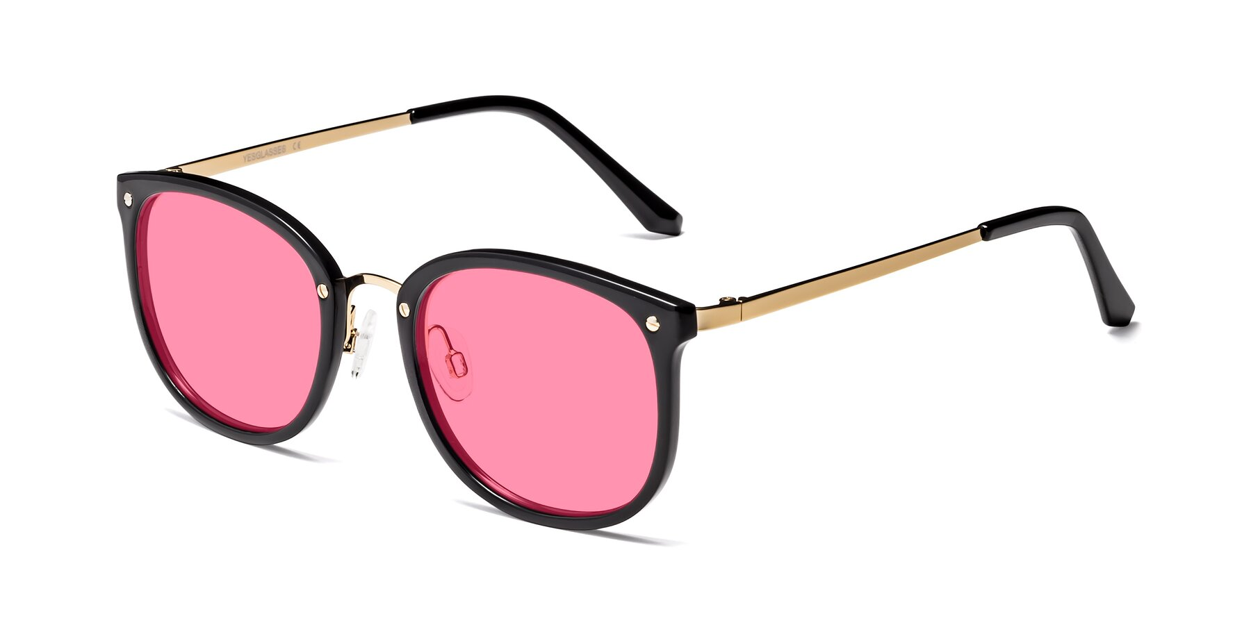 Angle of Timeless in Black-Gold with Pink Tinted Lenses