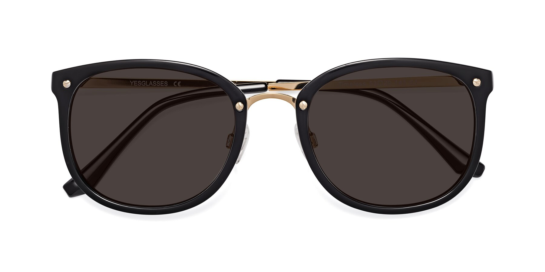 Folded Front of Timeless in Black-Gold with Gray Tinted Lenses