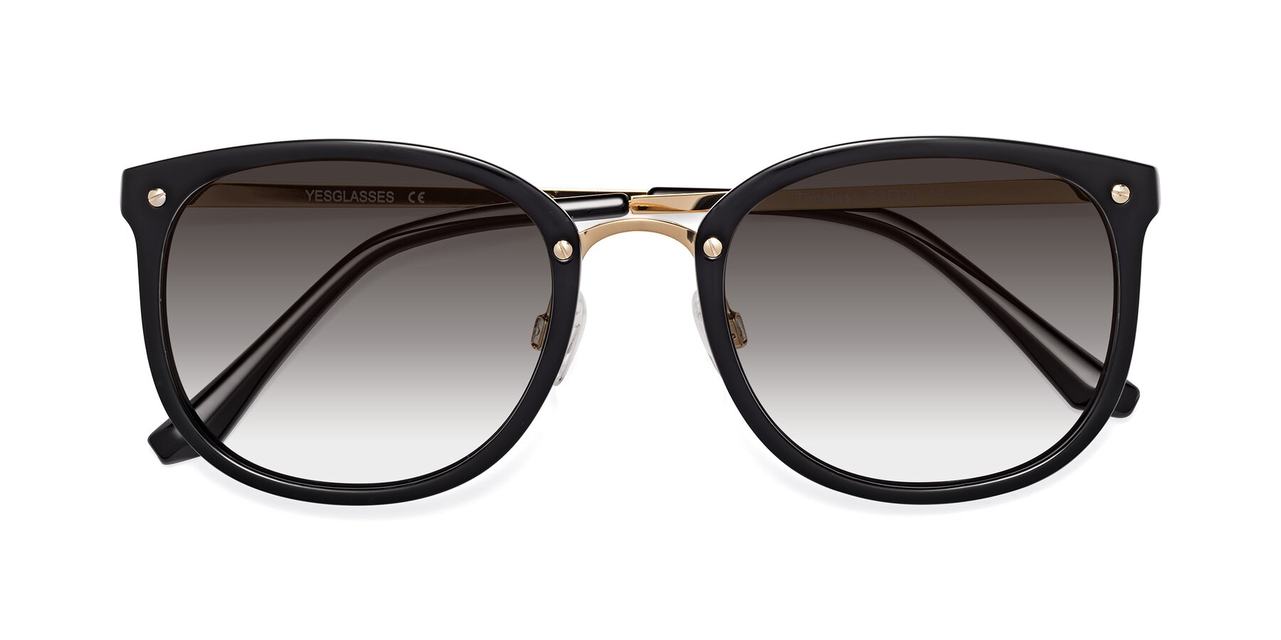 Folded Front of Timeless in Black-Gold with Gray Gradient Lenses
