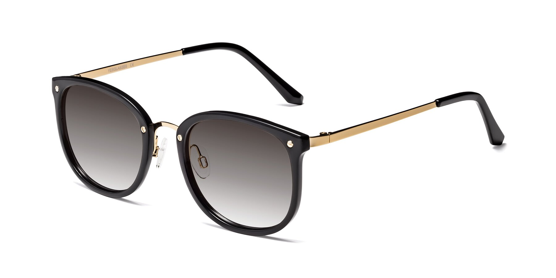Angle of Timeless in Black-Gold with Gray Gradient Lenses