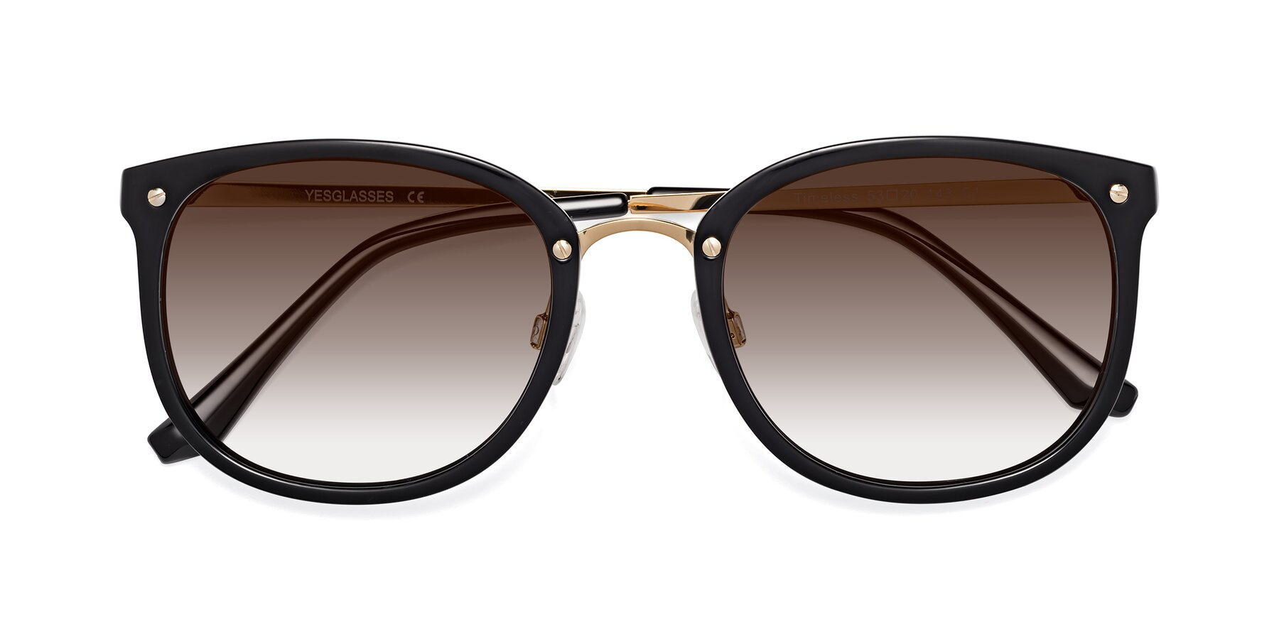 Folded Front of Timeless in Black-Gold with Brown Gradient Lenses