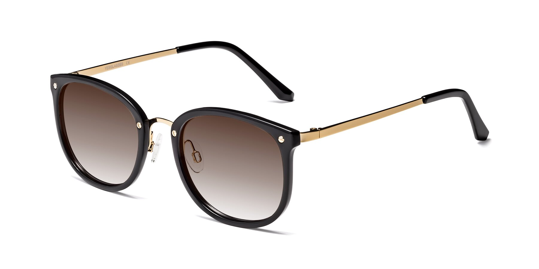 Angle of Timeless in Black-Gold with Brown Gradient Lenses