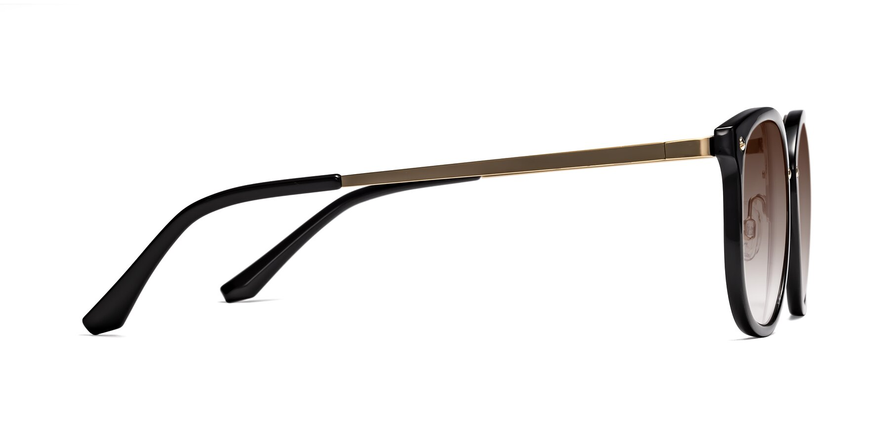 Side of Timeless in Black-Gold with Brown Gradient Lenses