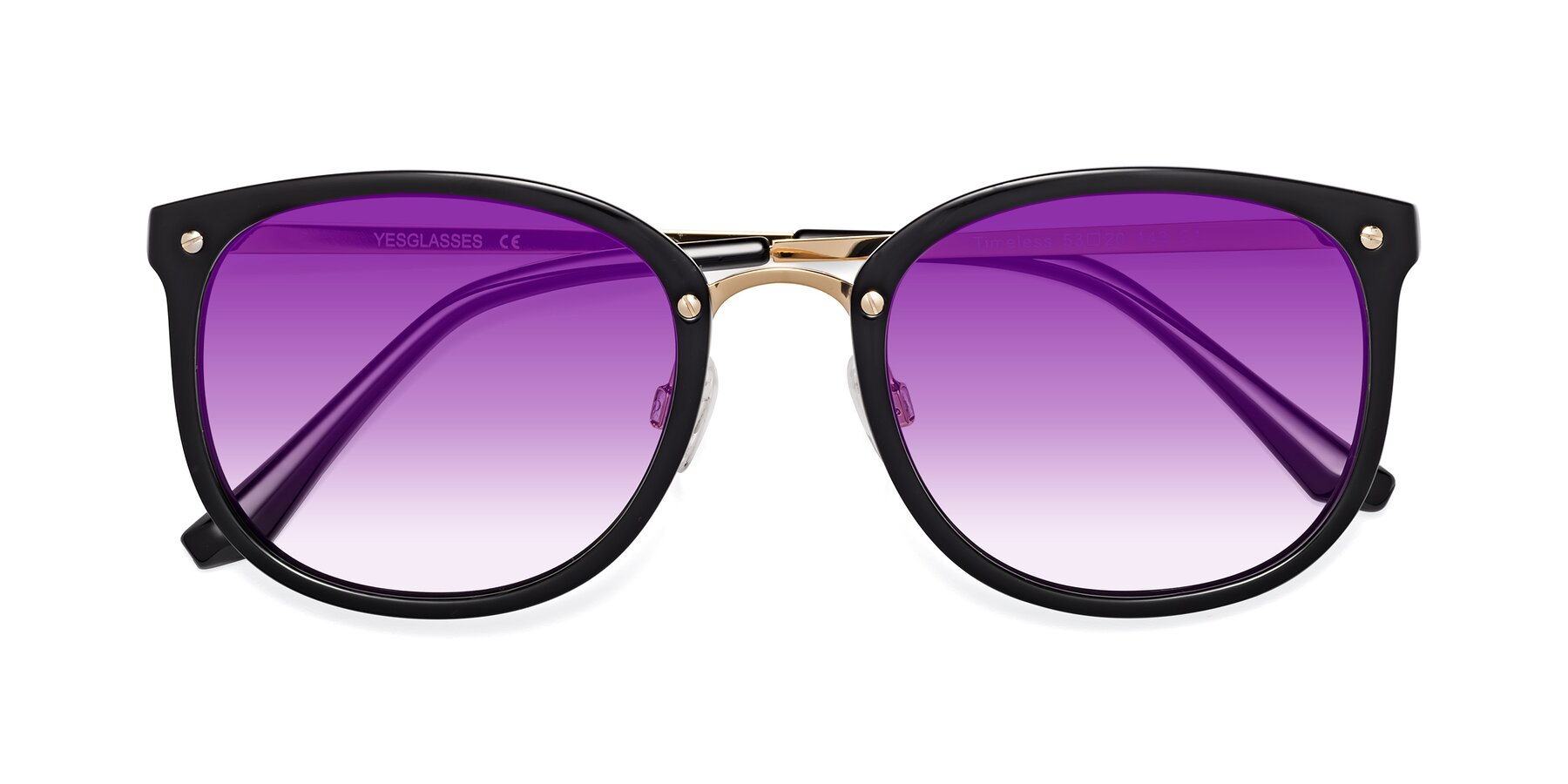 Folded Front of Timeless in Black-Gold with Purple Gradient Lenses