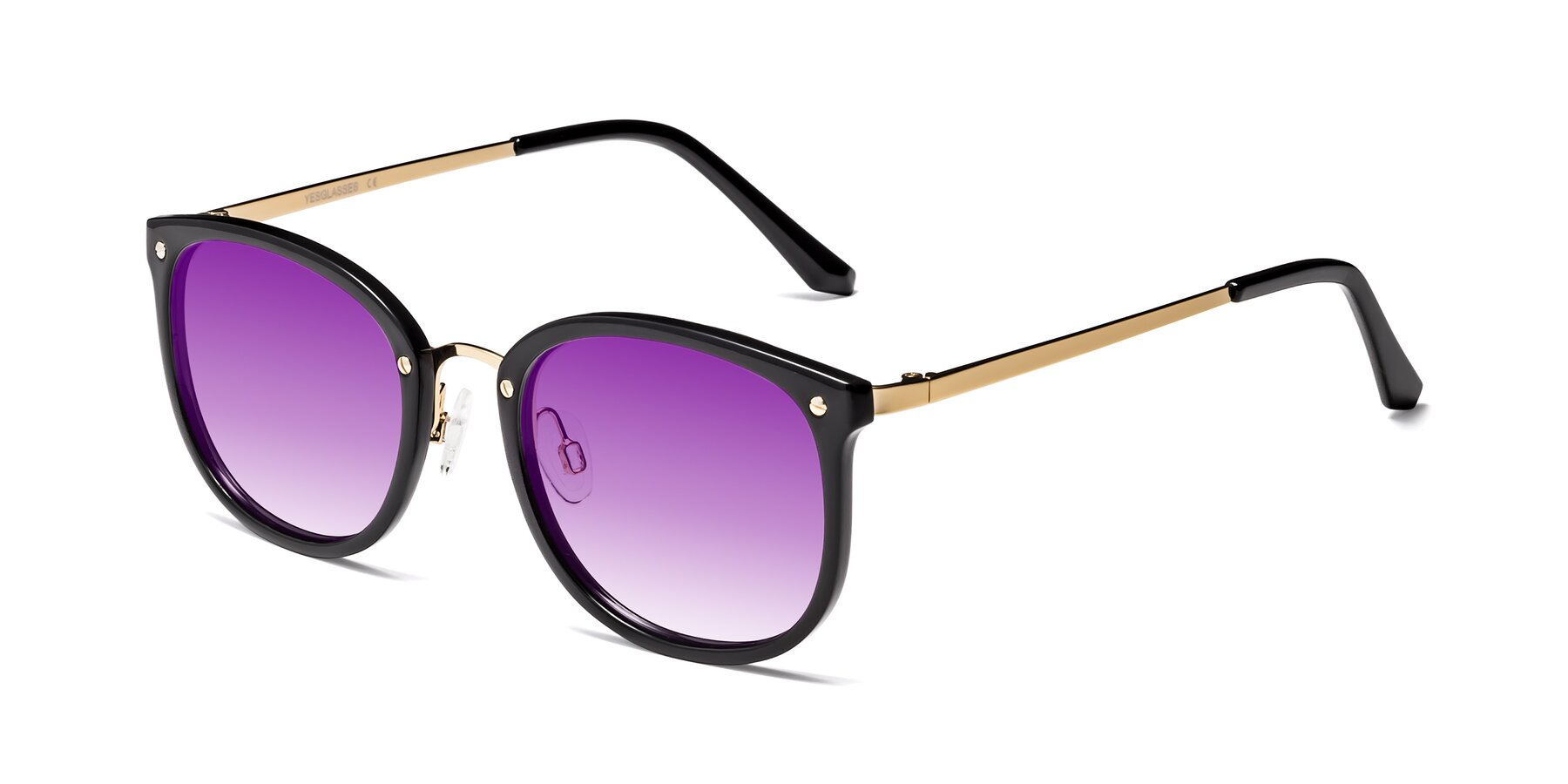 Angle of Timeless in Black-Gold with Purple Gradient Lenses