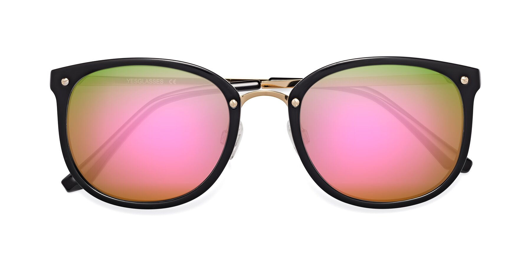 Folded Front of Timeless in Black-Gold with Pink Mirrored Lenses
