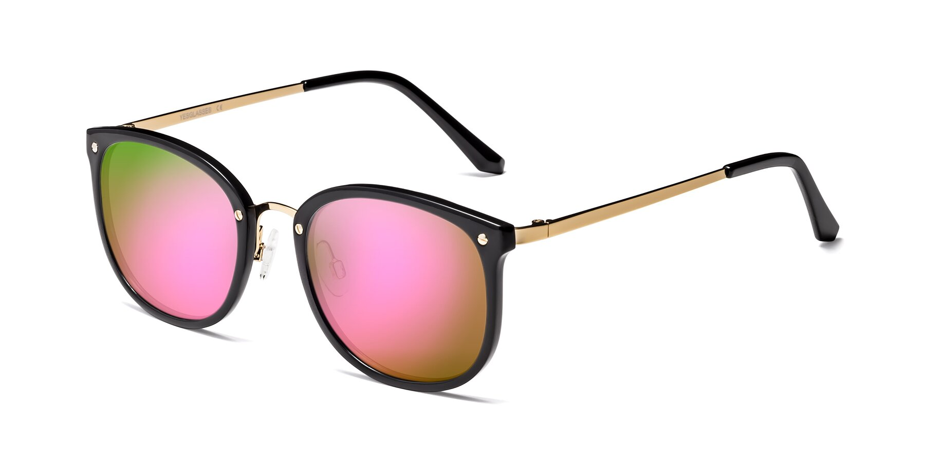 Angle of Timeless in Black-Gold with Pink Mirrored Lenses