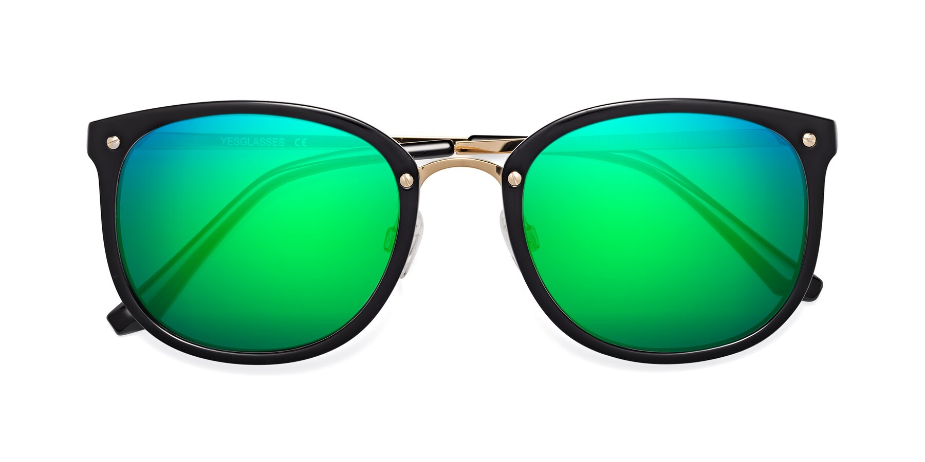 Folded Front of Timeless in Black-Gold with Green Mirrored Lenses