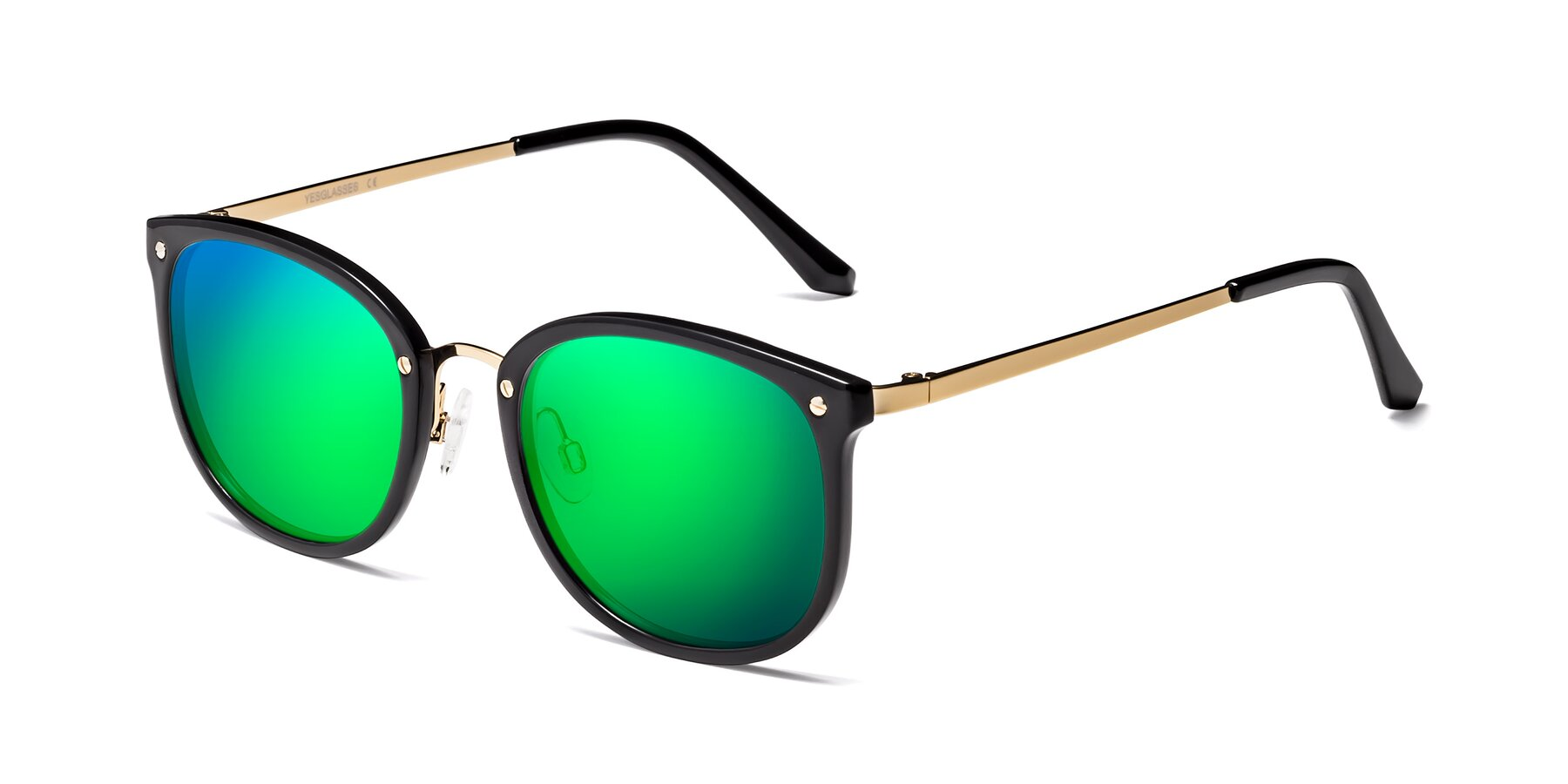 Angle of Timeless in Black-Gold with Green Mirrored Lenses