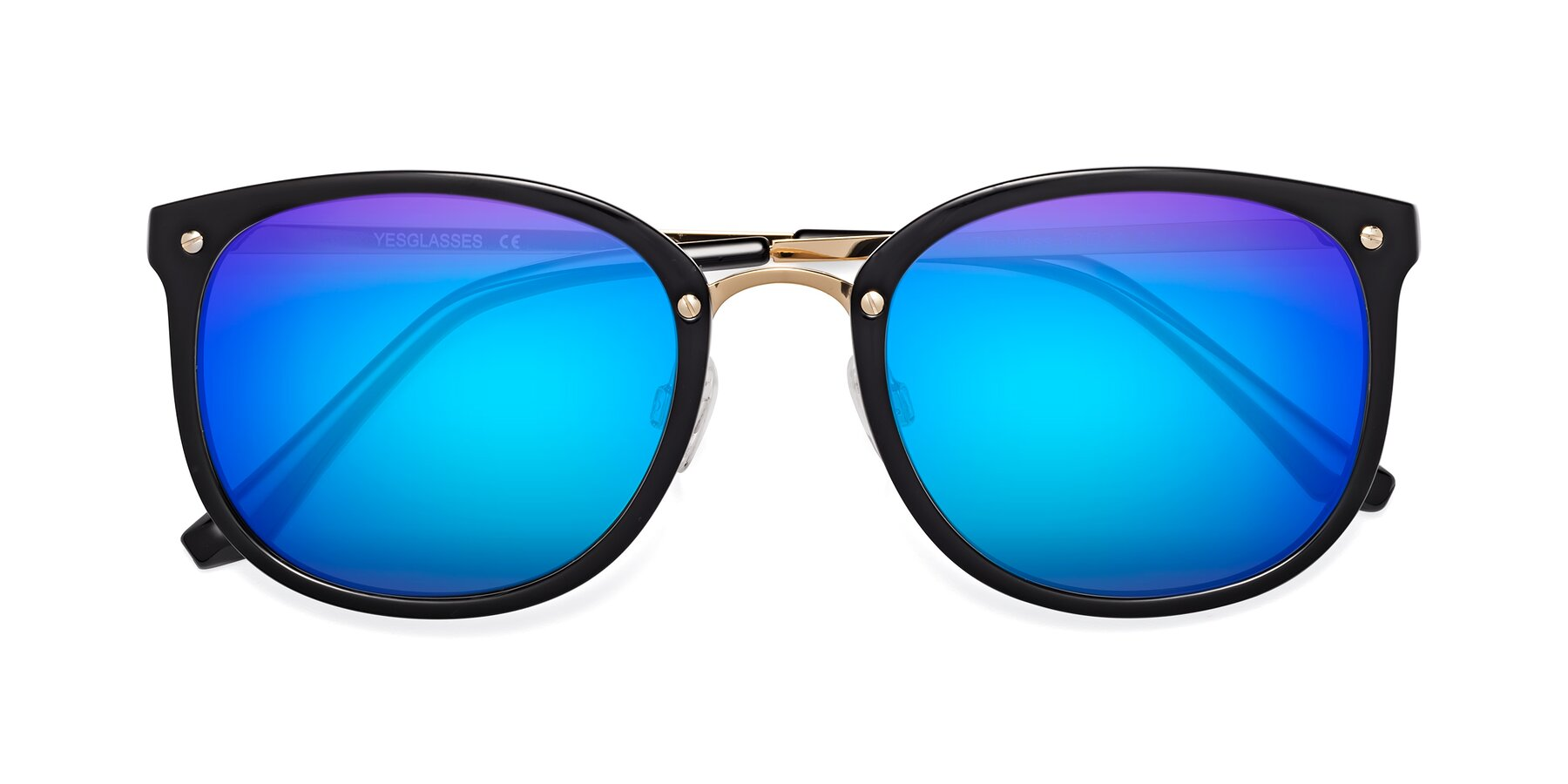 Folded Front of Timeless in Black-Gold with Blue Mirrored Lenses