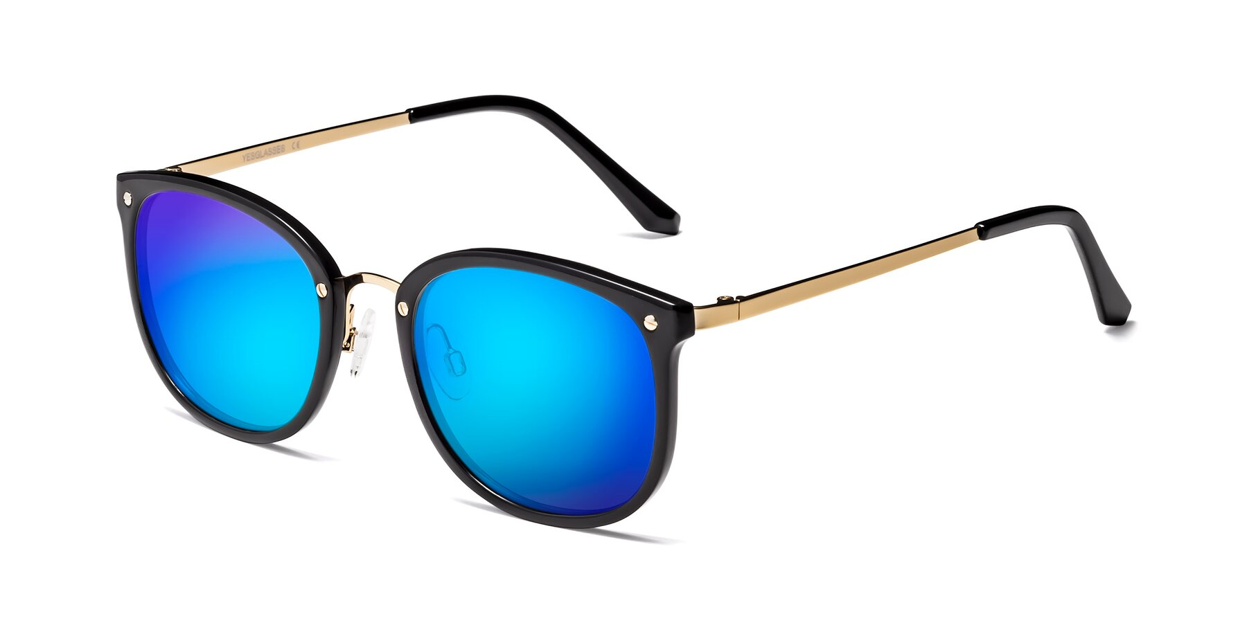 Angle of Timeless in Black-Gold with Blue Mirrored Lenses