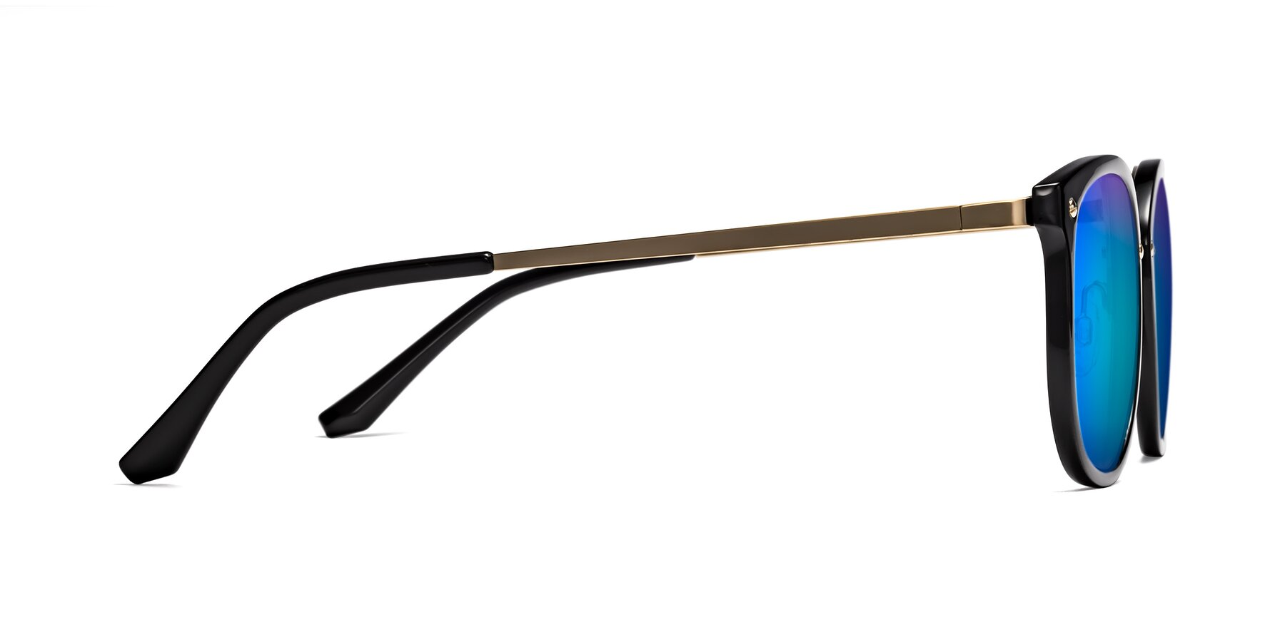 Side of Timeless in Black-Gold with Blue Mirrored Lenses