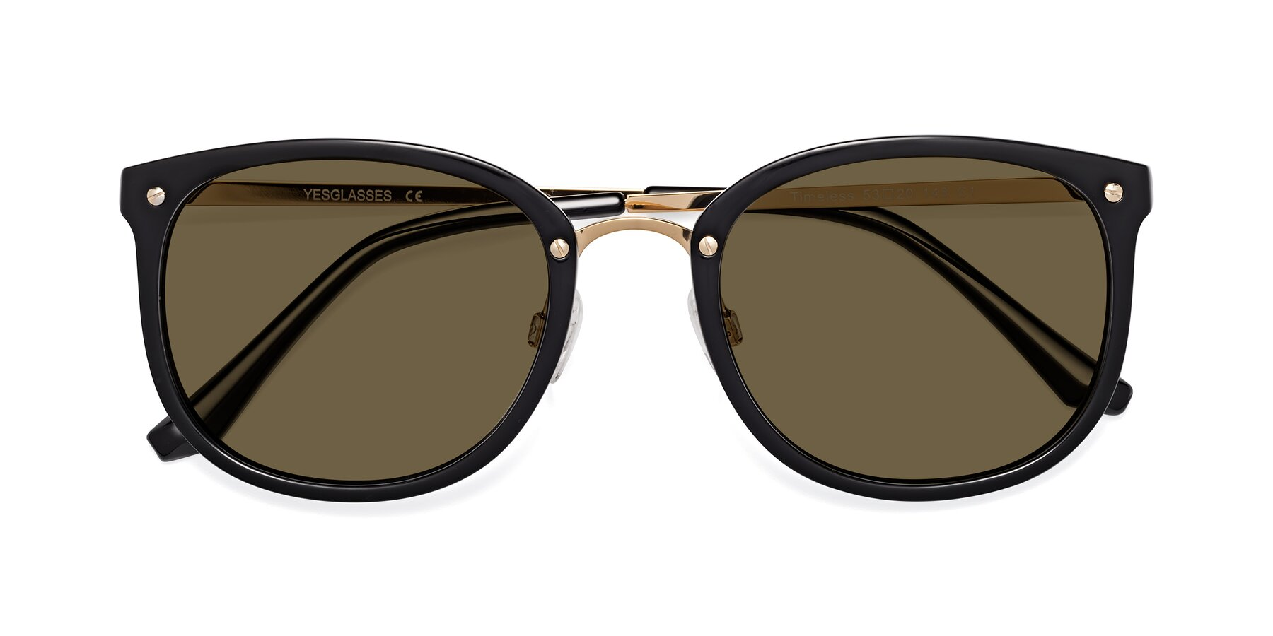 Folded Front of Timeless in Black-Gold with Brown Polarized Lenses